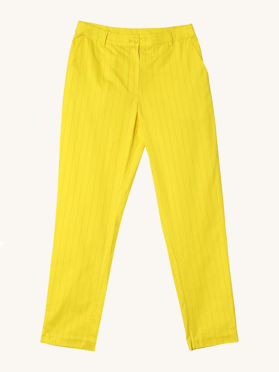Slack Pants in Neon Yellow