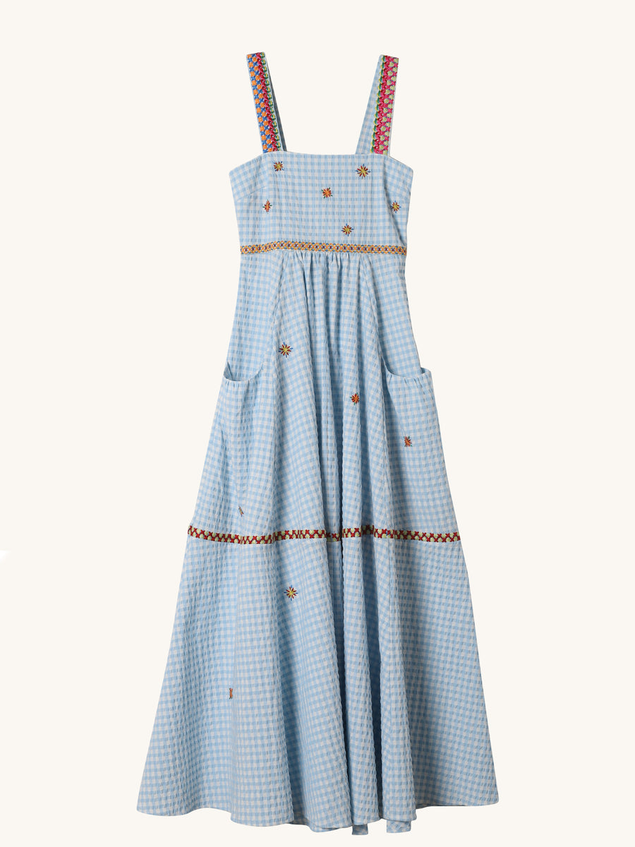 Gingham Embroidered Cami Dress