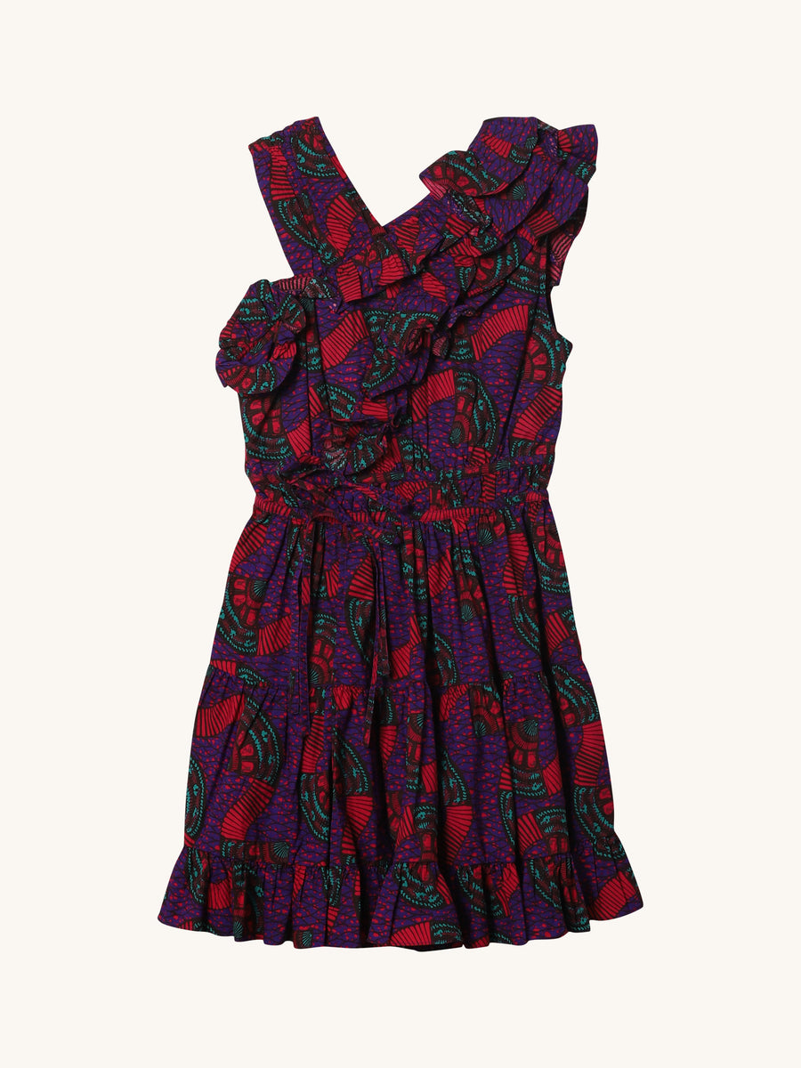 Iliana Printed Dress in Violet