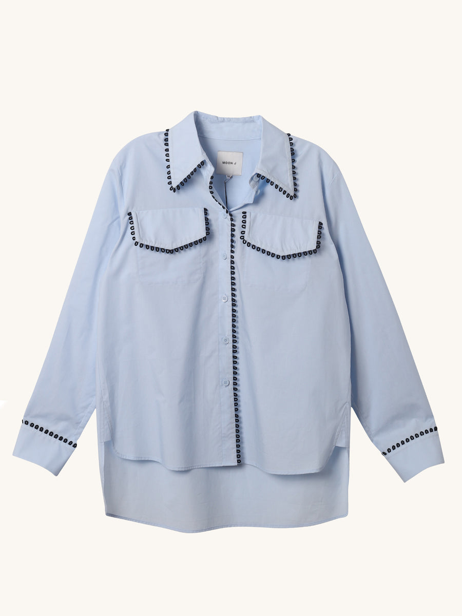 Loop Trim Shirt in Blue