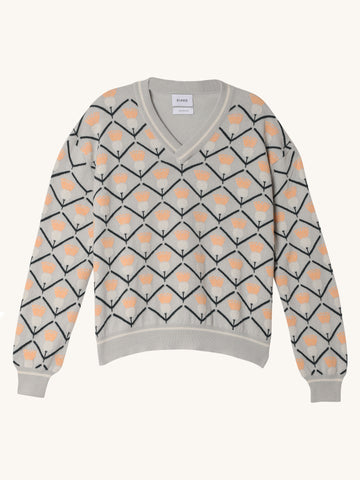 Aspen Pullover in White & Orange