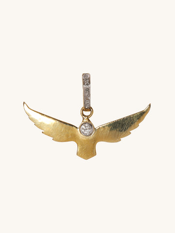 Small Polished Brass Bird Pendant