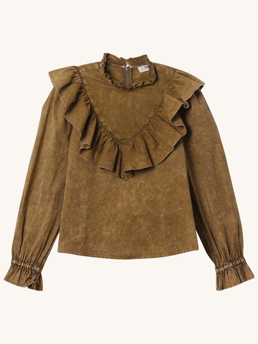 Olive Green Ruffle Metta Top