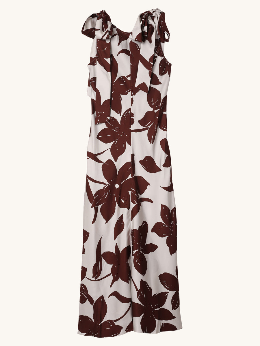 Floral Sakura Silk Maxi Dress