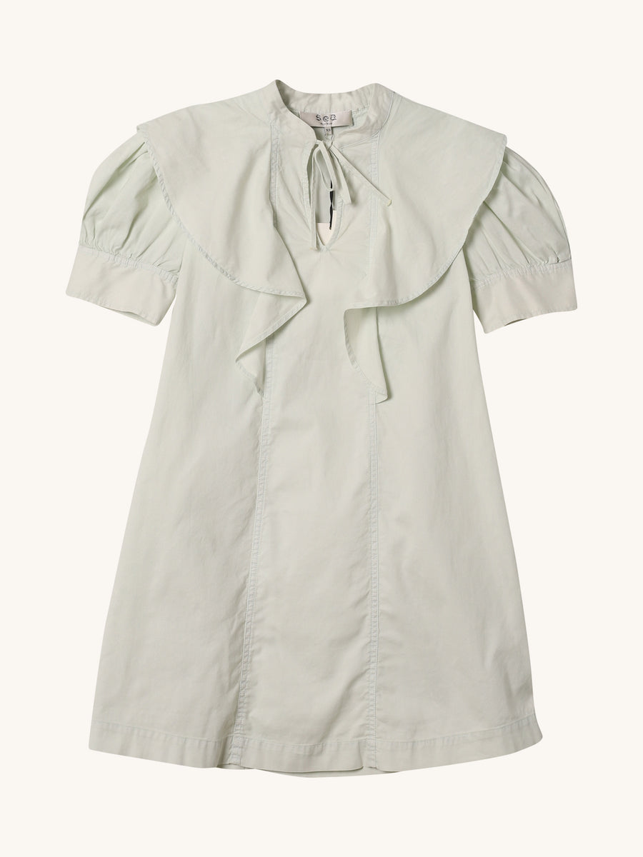 Hildur Puff Sleeve Tunic Dress in Eucalyptus