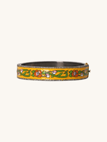 Small Yellow Floral Enamel Bangle