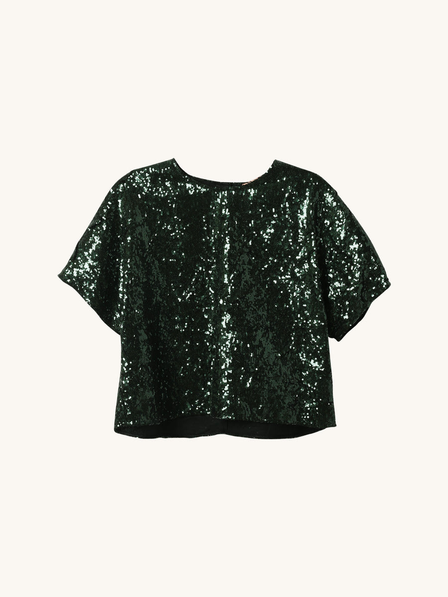 Green Sequin Cropped Tee