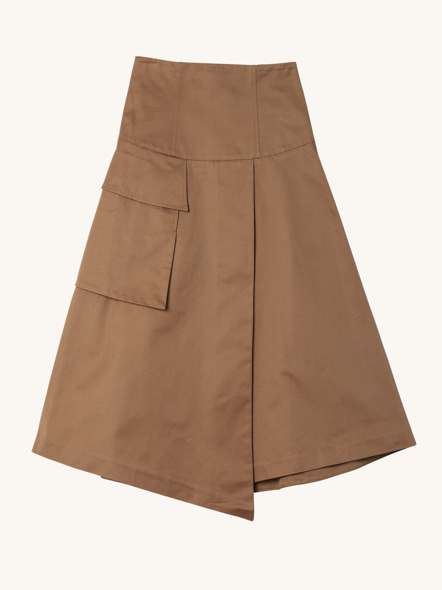 Wrap Pocket Skirt in Khaki