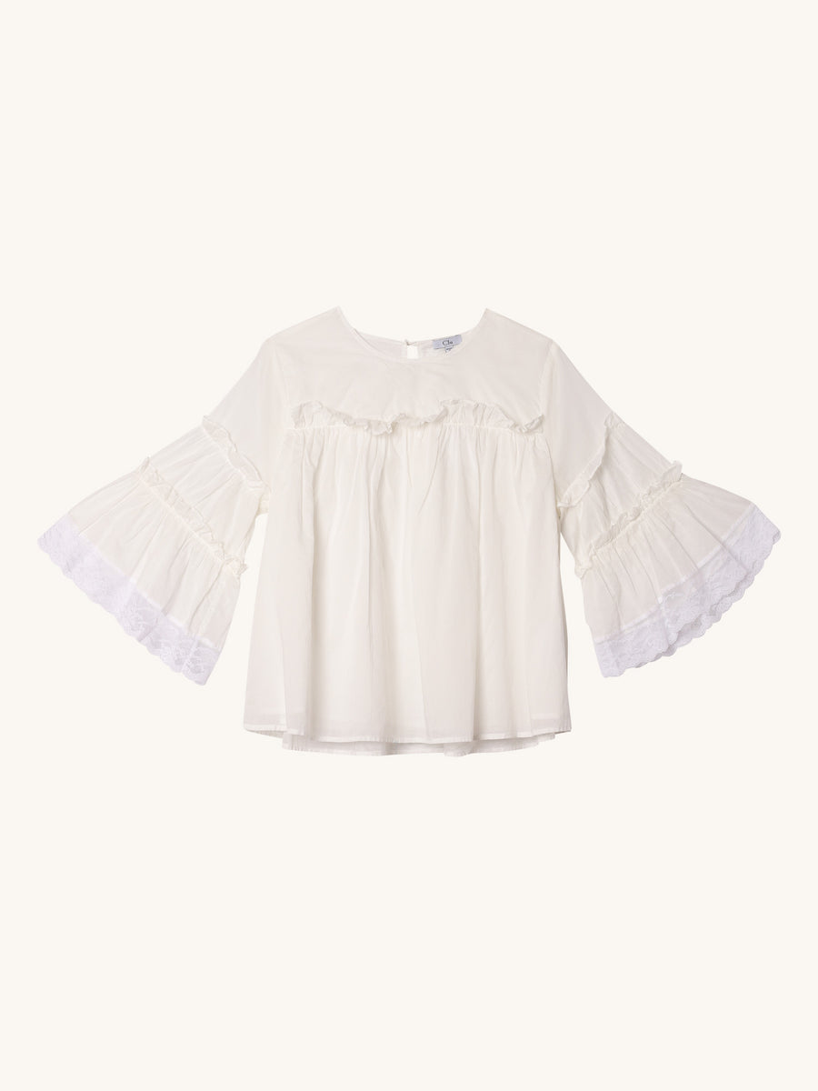 Ruffle Sleeve Top in White
