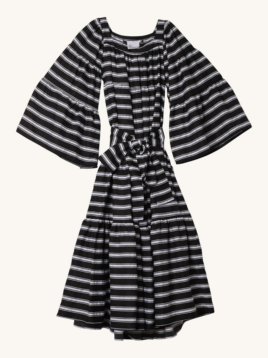 Peasant Maxi Dress in Black & White Stripe