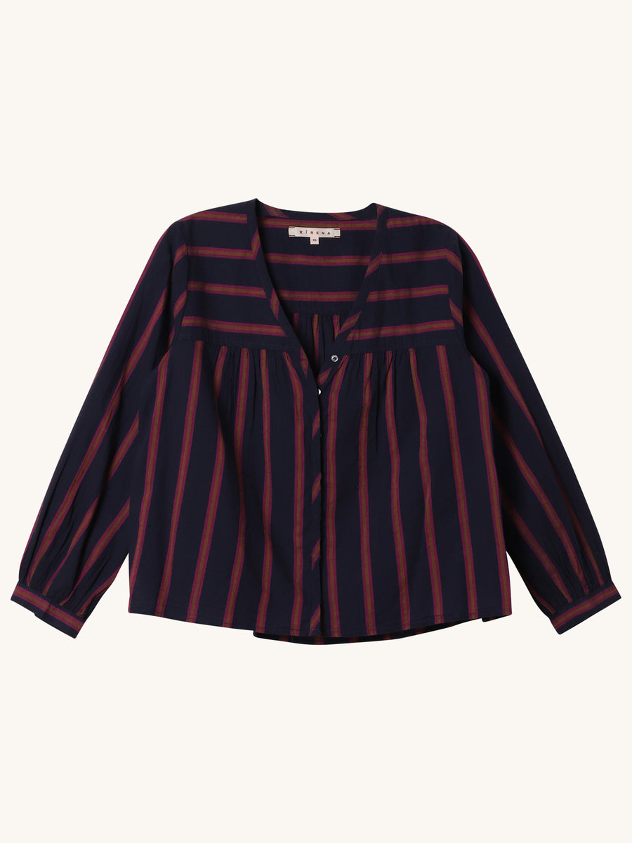 Stripe Francie Top in Navy