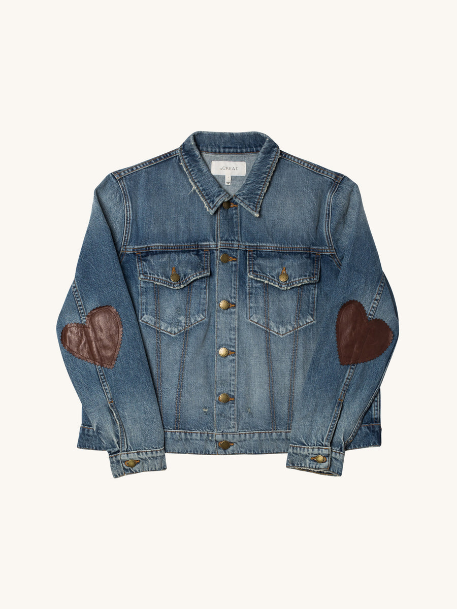 The Boxy Jean Jacket with Heart Elbow Patches