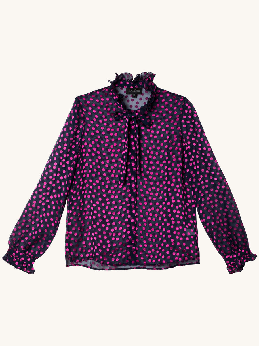 Emile Top in Navy and Magenta Polka Dots