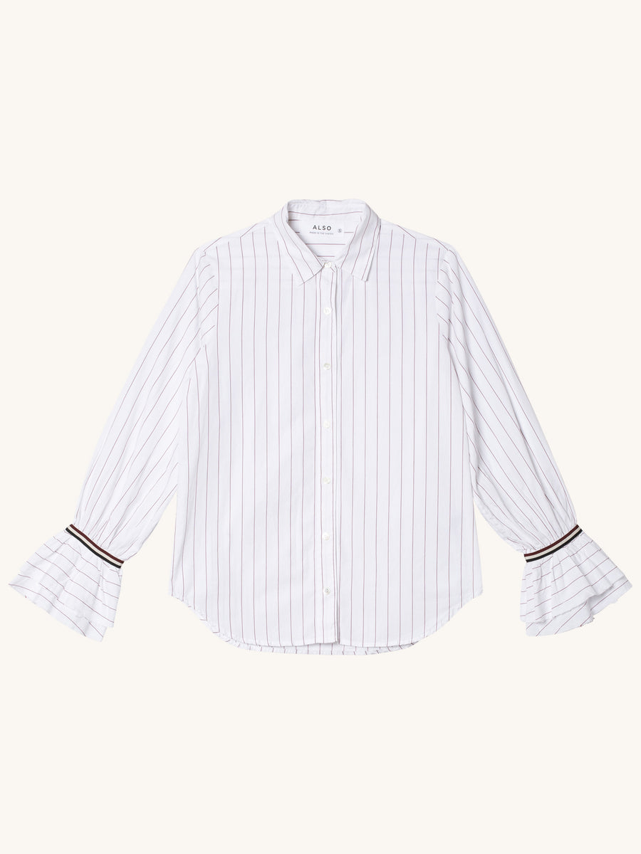 Charlotte Shirt in Burgandy Stripe