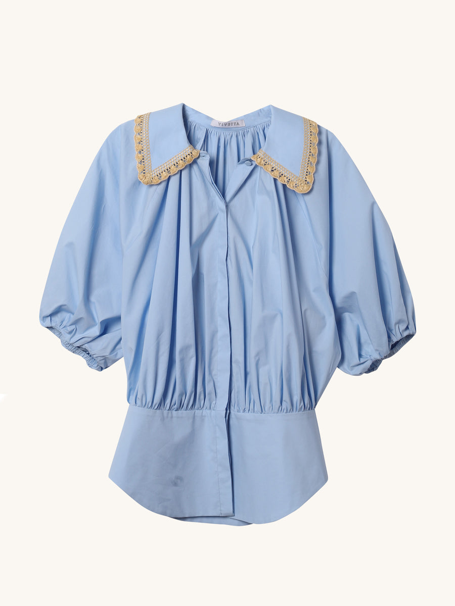 Trimmed Collar Shirt in Blue