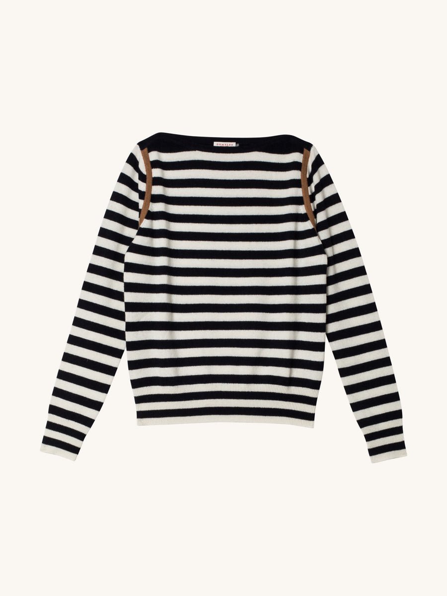 Angie Stripe Sweater in Navy & White