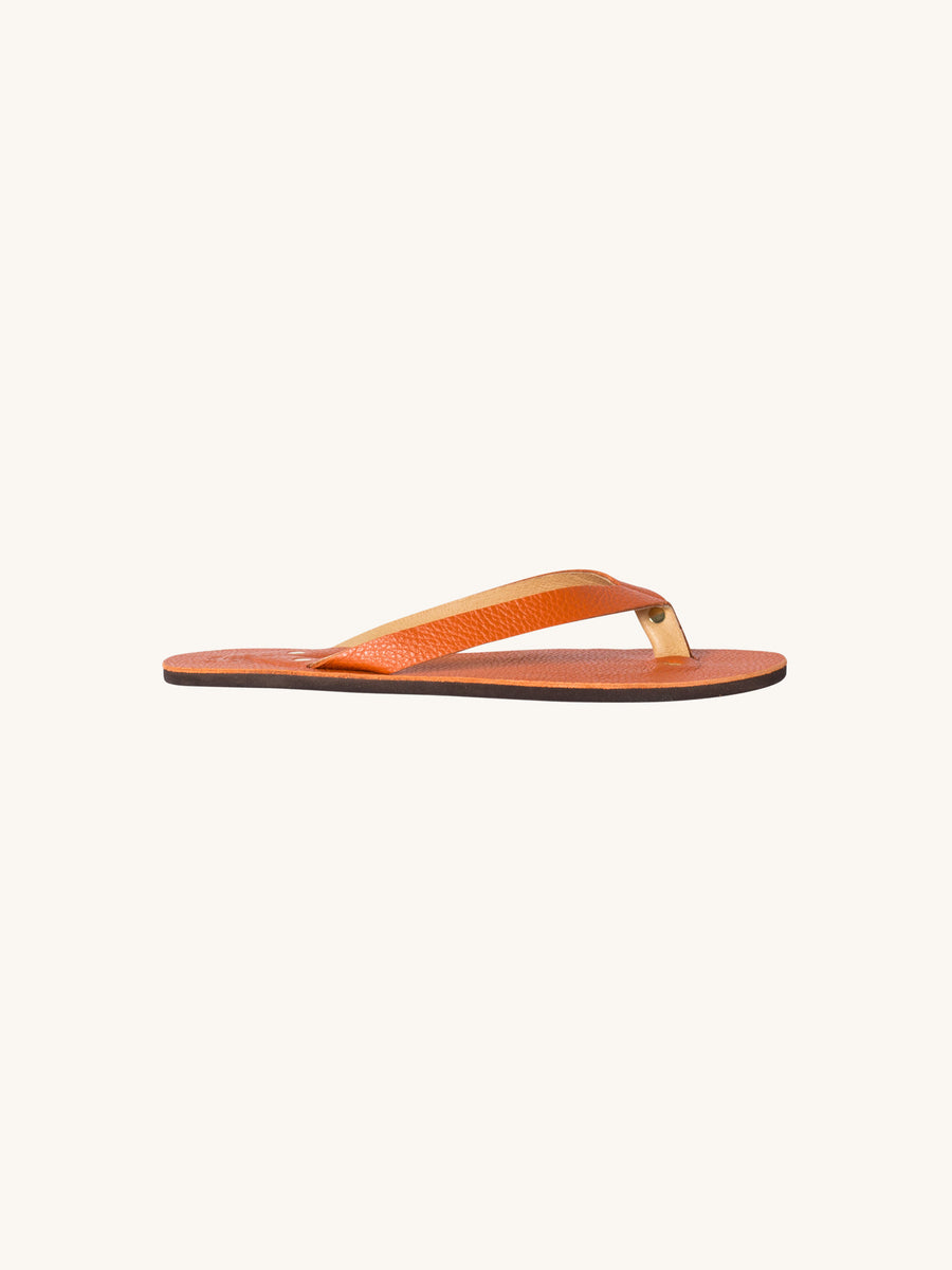 Leather Flip Flop in H. Orange