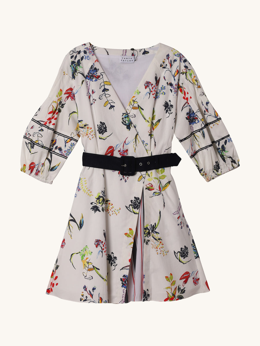 Floral Rachele Dress in White