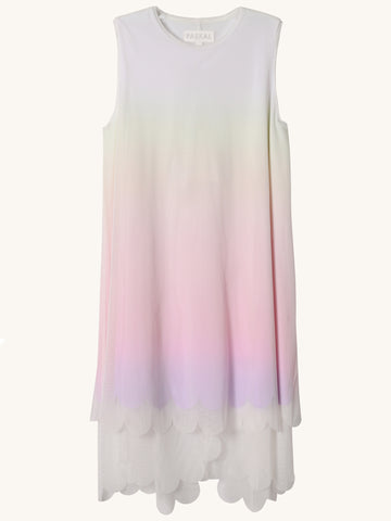 Sleeveless White Gradient Dress