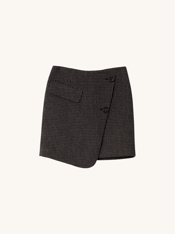 Checked Asymmetrical Wrap Mini Skirt