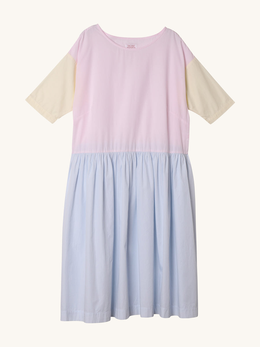 Lewis Poplin Dress in Pink Yellow & Light Blue