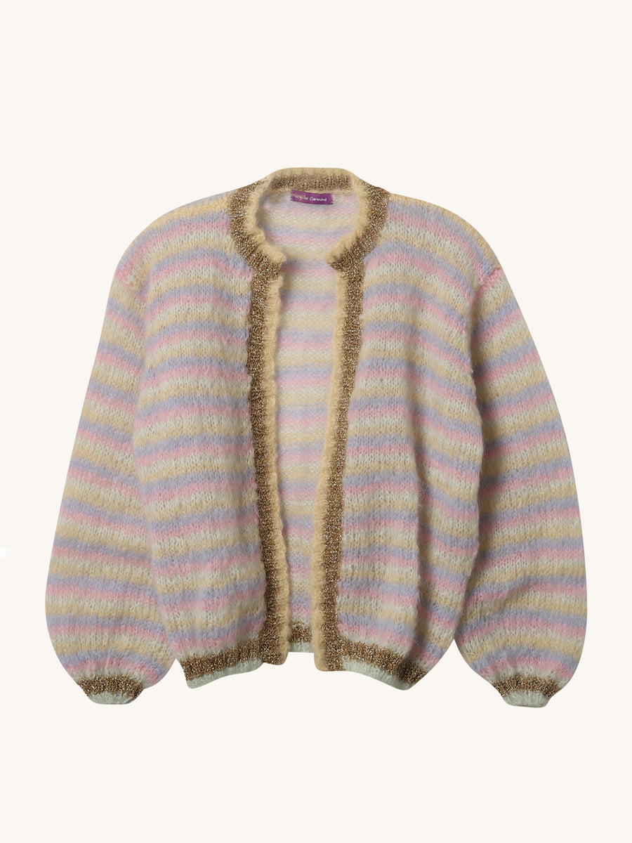 Stripe Little Jacket in Amande