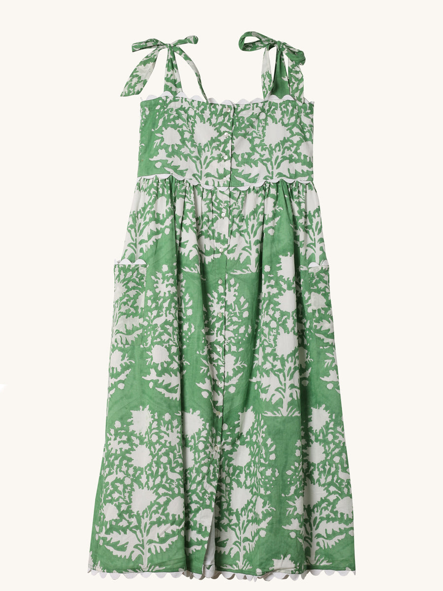 Tie Shoulder Dress in Green