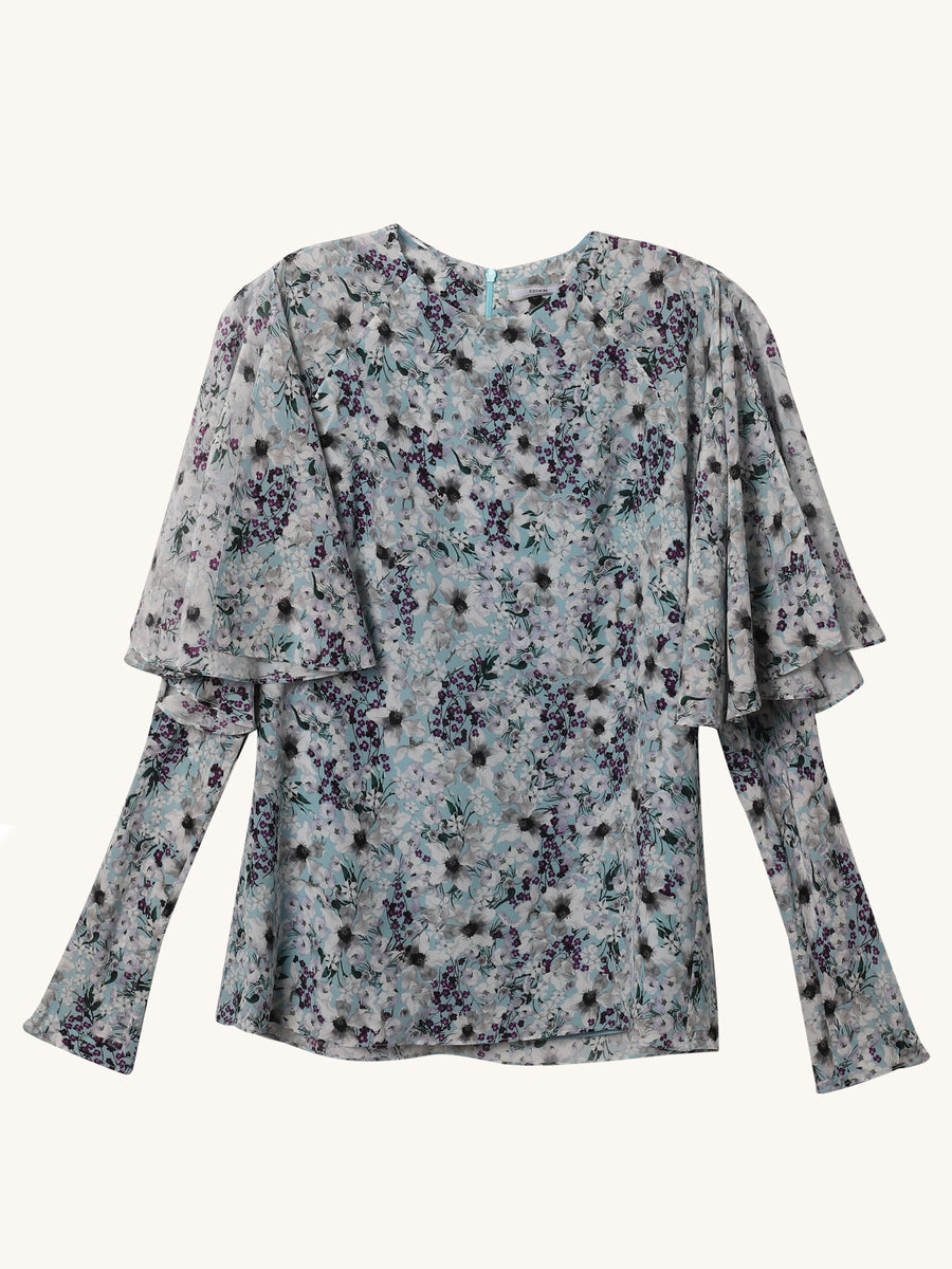 Cape Sleeve Floral Blouse