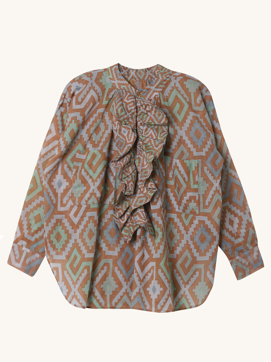 Frill Shirt in Cappucino Diamond Print