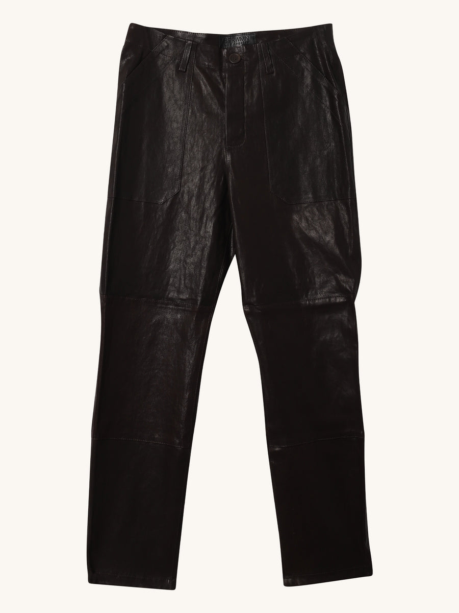 Leather Trouser Pant in Coal