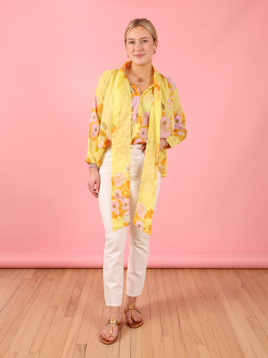 Bow Blouse in Yellow Floral