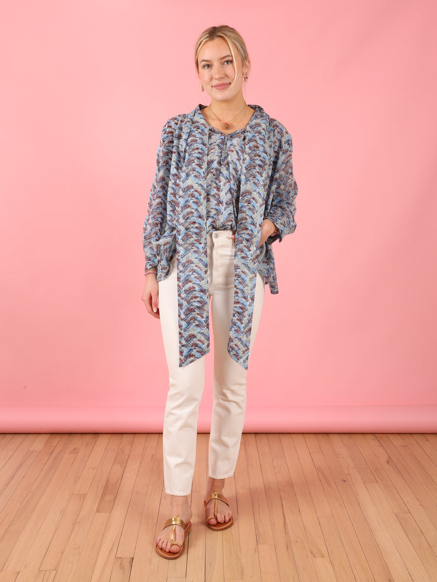 Bow Blouse in Jungle Blue