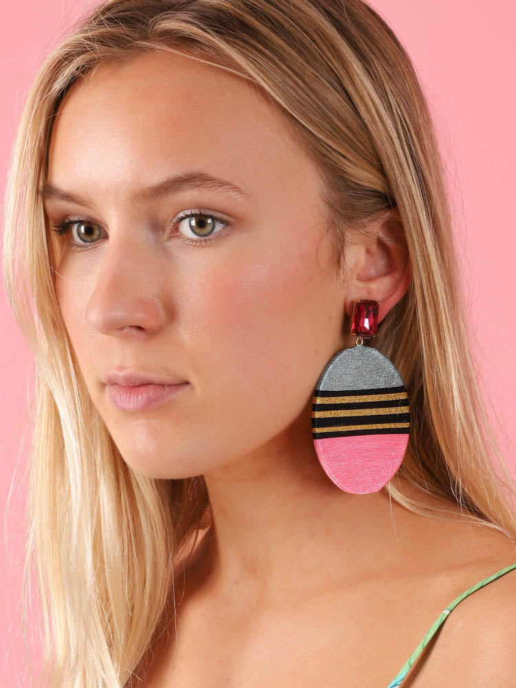 Carine Earrings in Blue & Pink