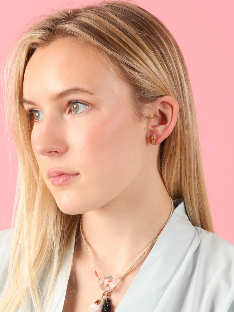 Rose Gold Shell Stud Earrings