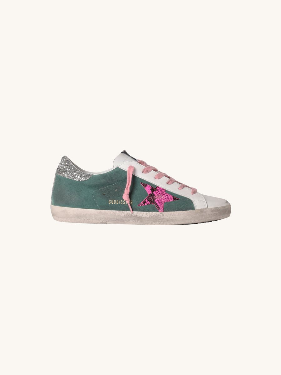 Superstar Sneaker in Green with Fuchsia Python Star