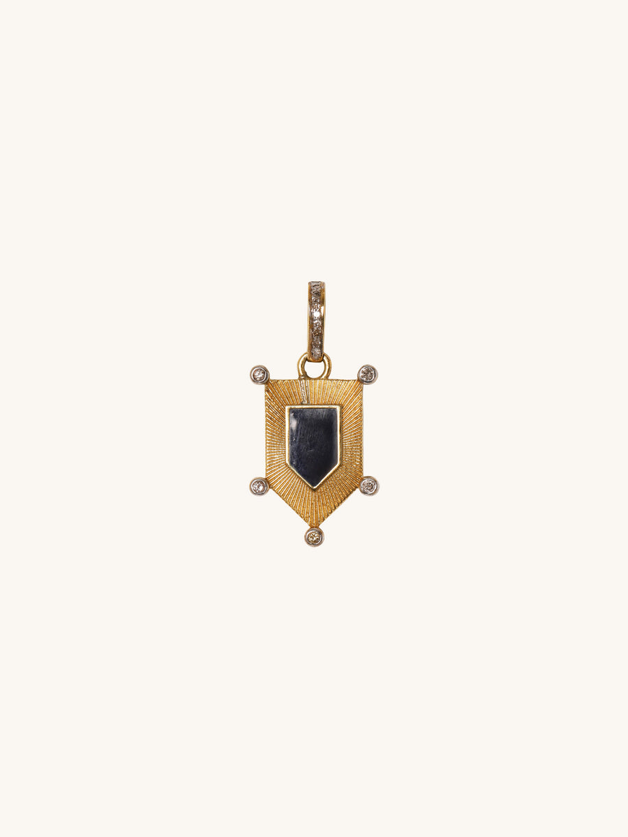 Small Black Enamel Shield Pendant