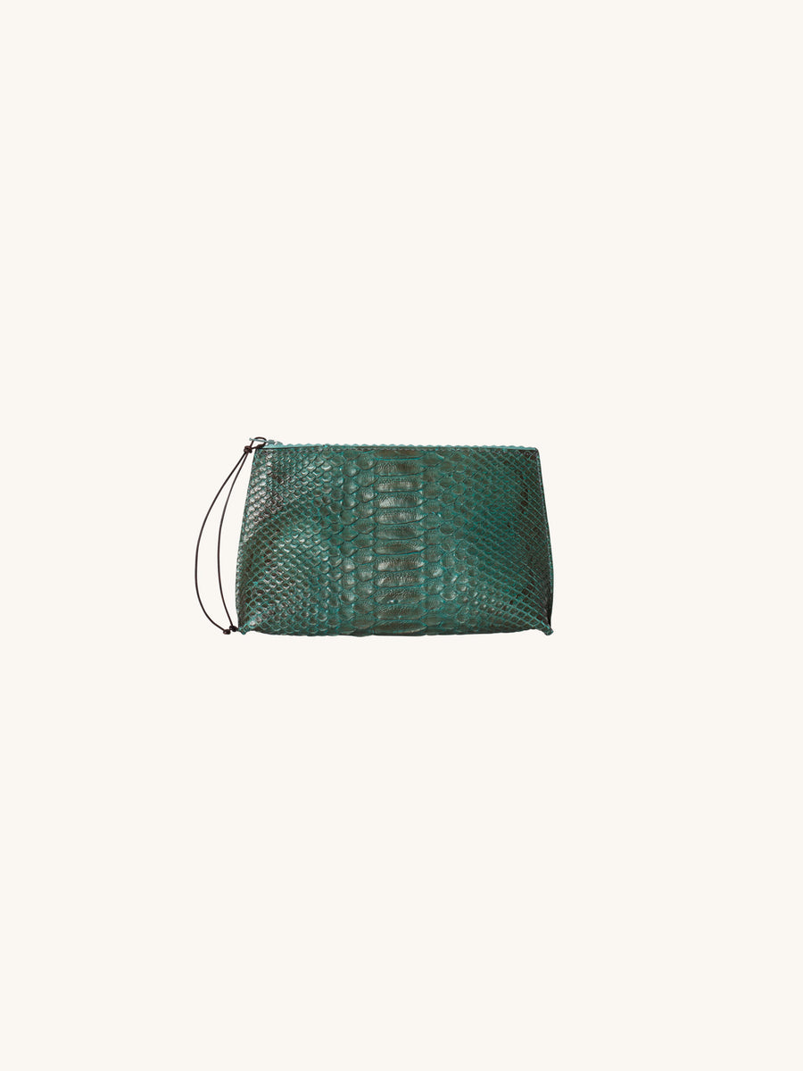 Teal Python Lipstick Pouch