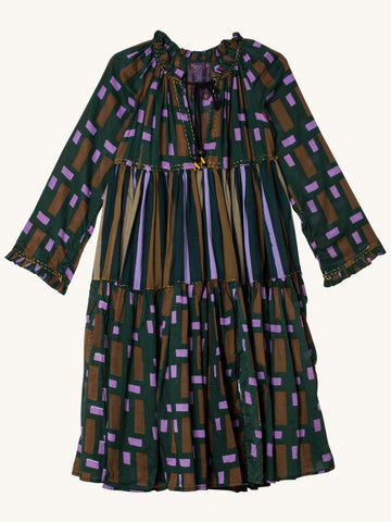Short to the Knee Dress in Dark Green Box Square Voile