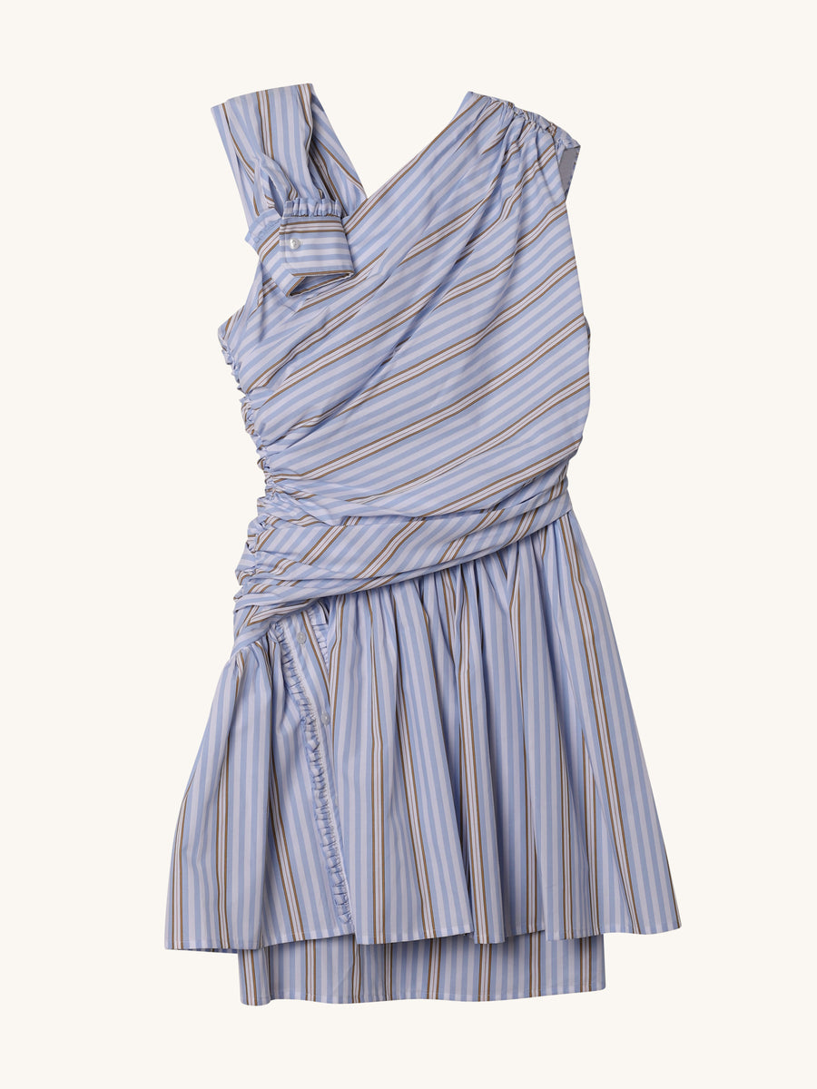 Oria Dress in Blue & White