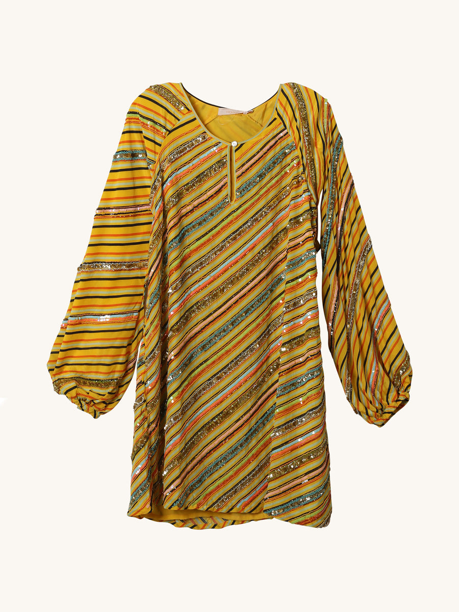 Yellow Stripe Shift Dress