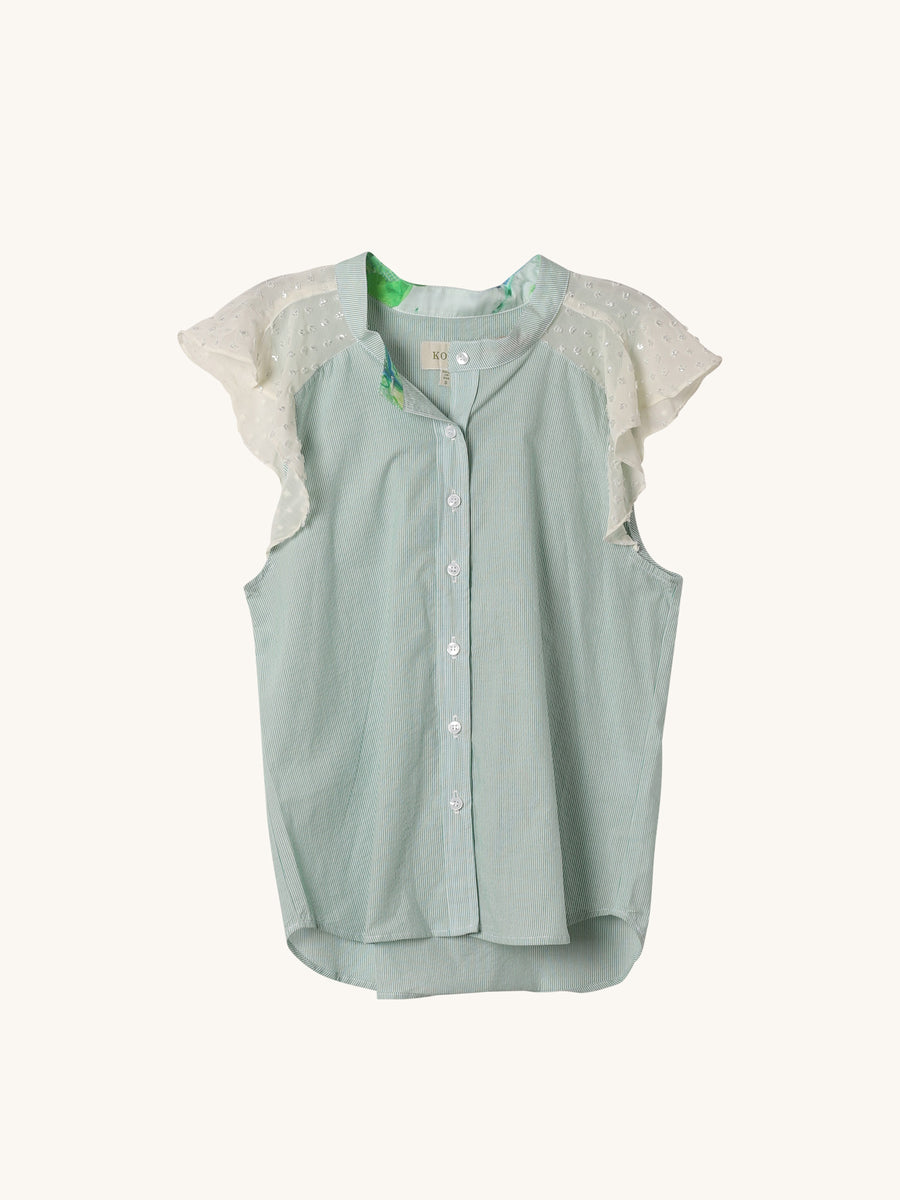 Augustus Top in Sage Stripe