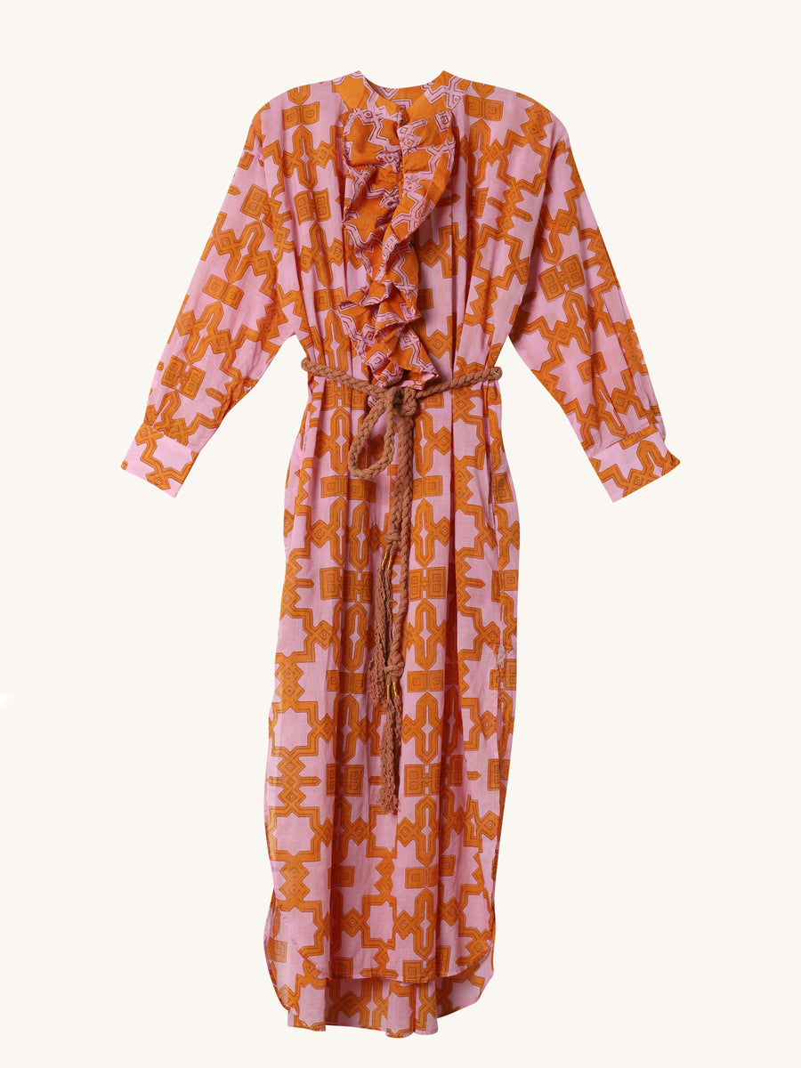 Frill Dress in Pink & Orange