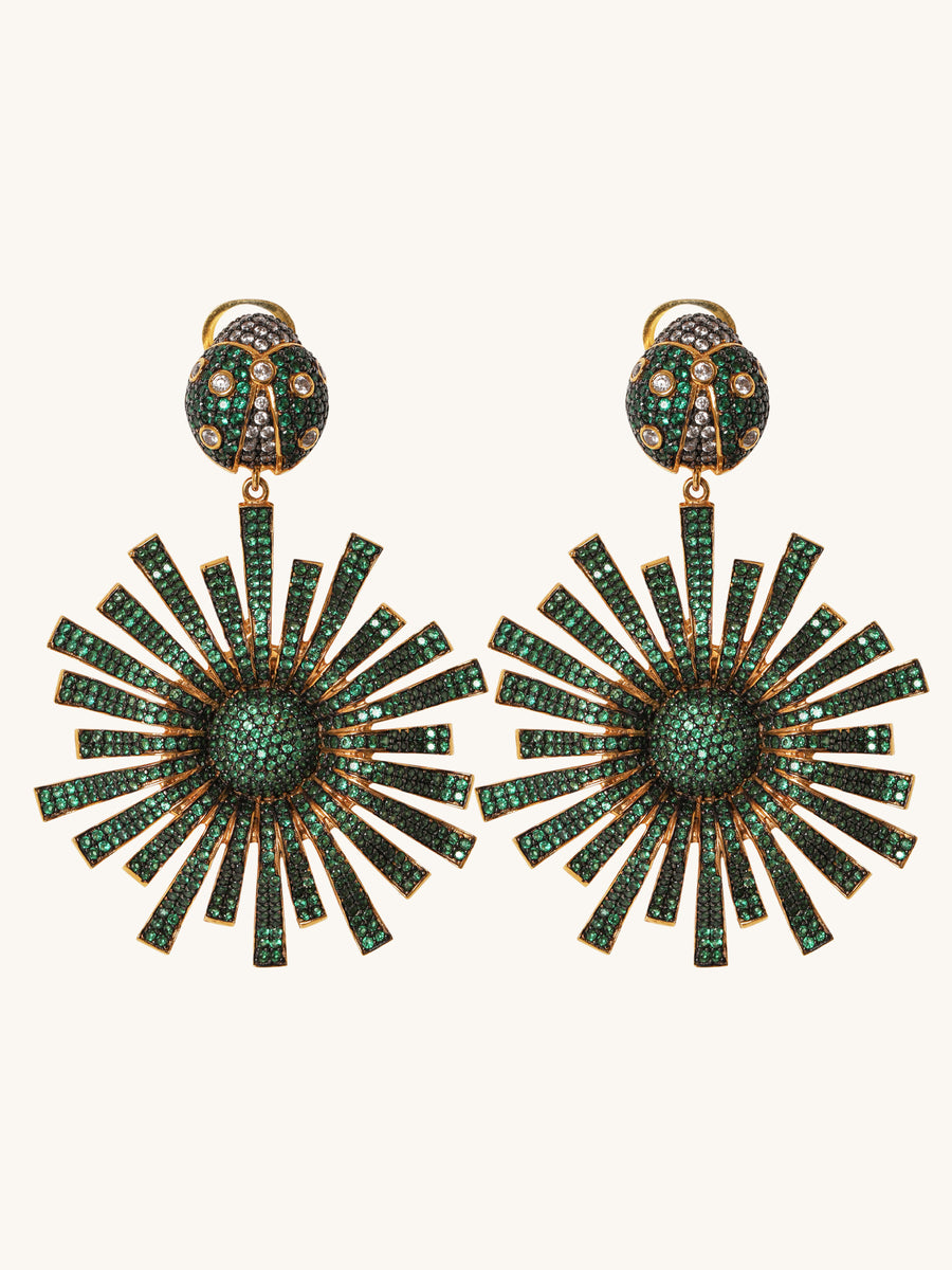Green Bug & Sun Earrings
