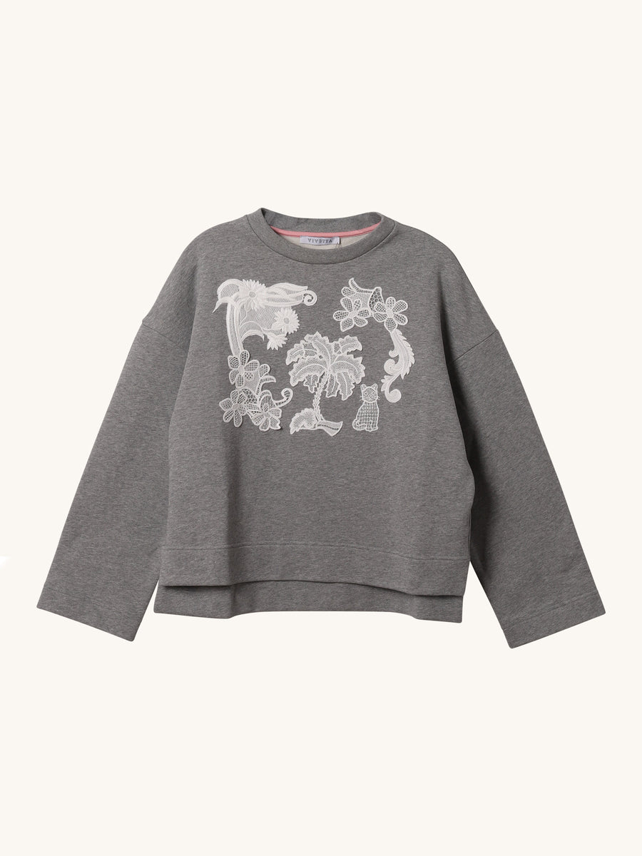 Lace Sweatshirt in Grey