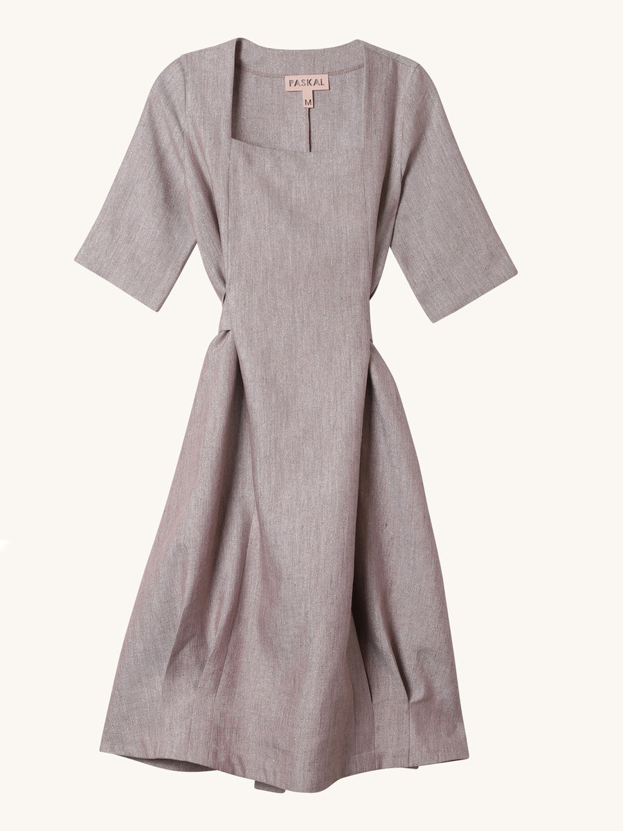 Belted Square Neck Dress