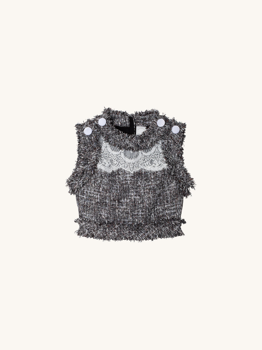 Cory Crop Top in Grey Tweed