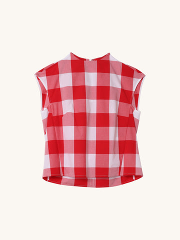 Sleeveless Top in Red & White