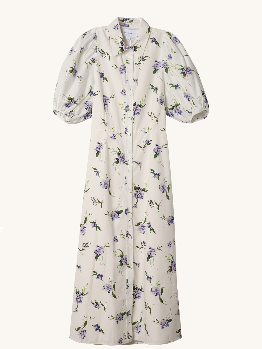 Puff Sleeve Shirtdress in Lavender Floral