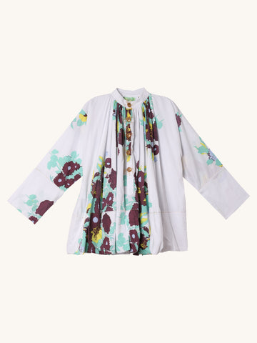 Priest Shirt in White Floral Print