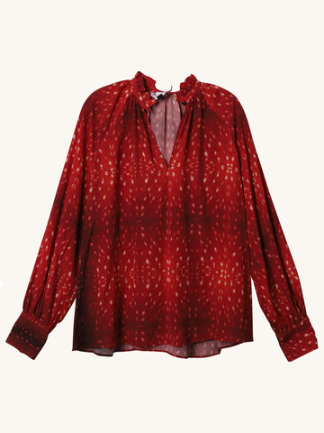 Long Sleeve Blouse in Fawn & Red